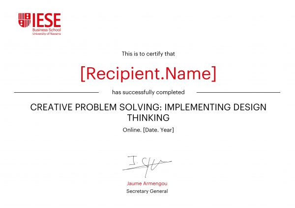 Design Thinking | Online Focused Program Certificate | IESE Business School