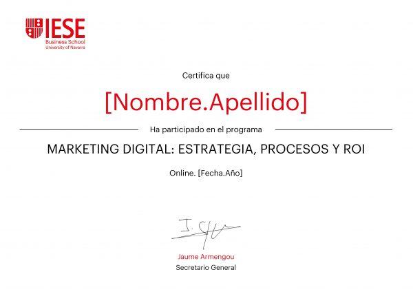 Marketing digital: estrategia, procesos y ROI   Certificado Programa Enfocado Online   IESE Business School